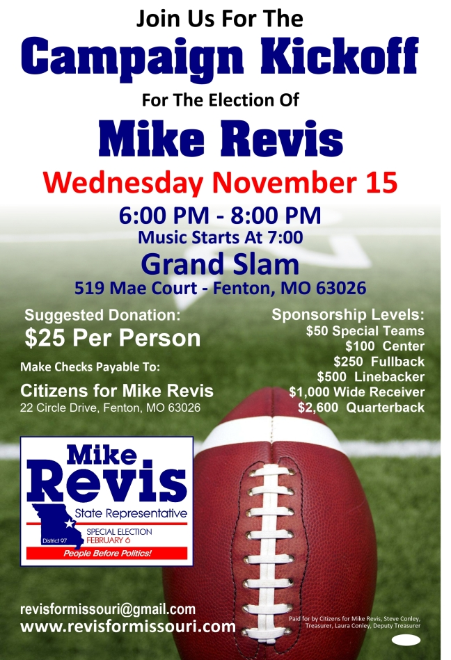 Revis November Fundraiser